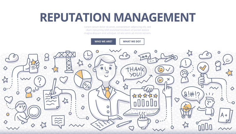 Reputation Management Doodle Concept royalty free illustration