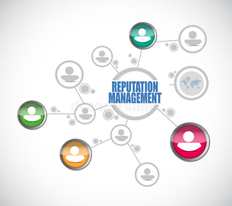 Reputation management people diagram illustration. Design over a white background stock images
