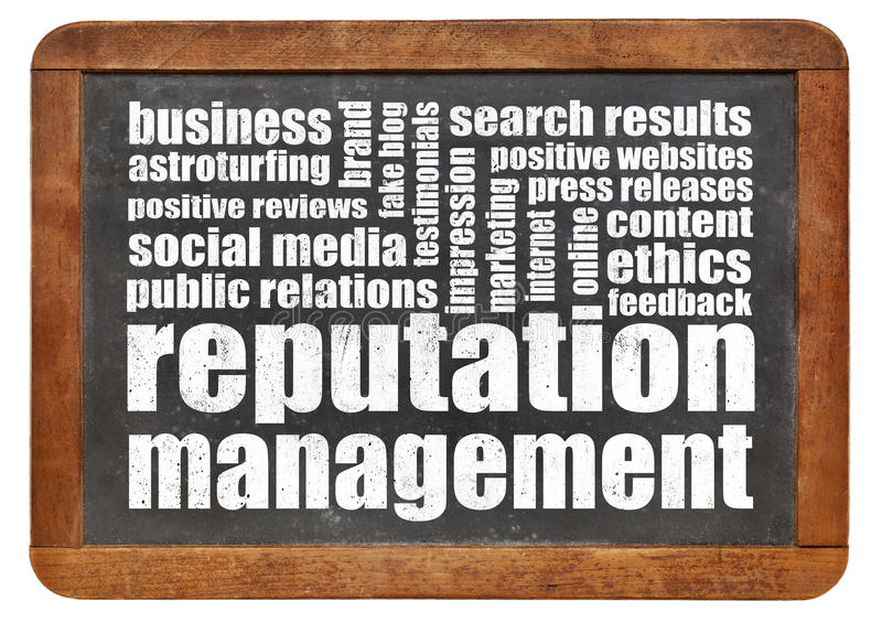 Reputation management. Word cloud on a vintage blackboard royalty free stock photography