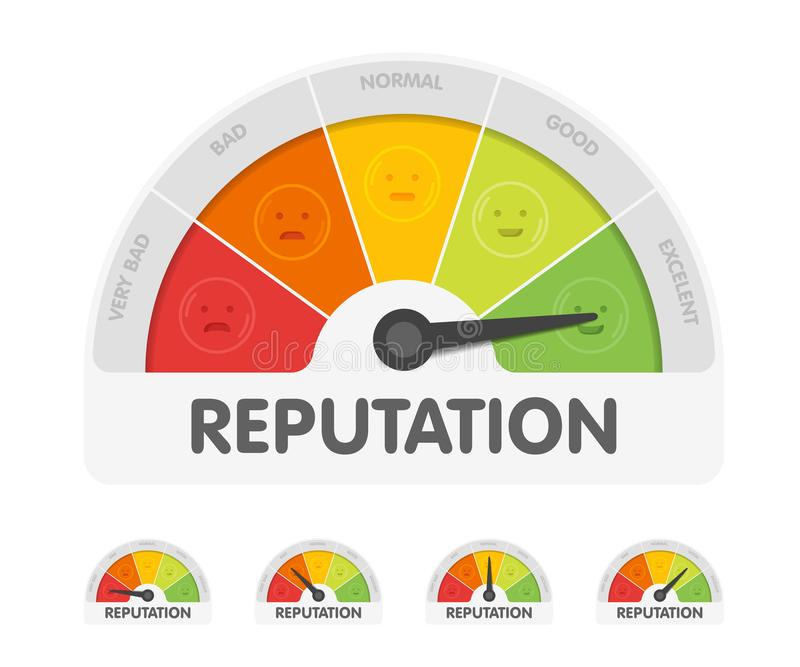 Reputation meter withdifferent emotions. Measuring gauge indicator vector illustration. Black arrow in coloured chart royalty free illustration