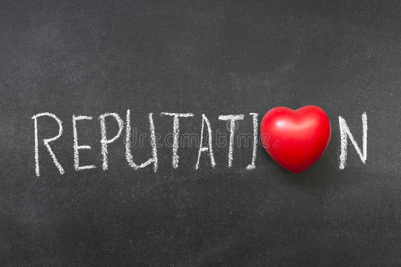 Reputation. Word handwritten on blackboard with heart symbol instead of O stock photos