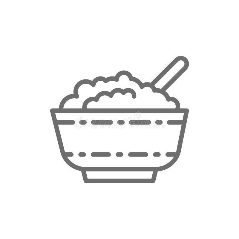 Requesón en la línea icono del cuenco stock de ilustración