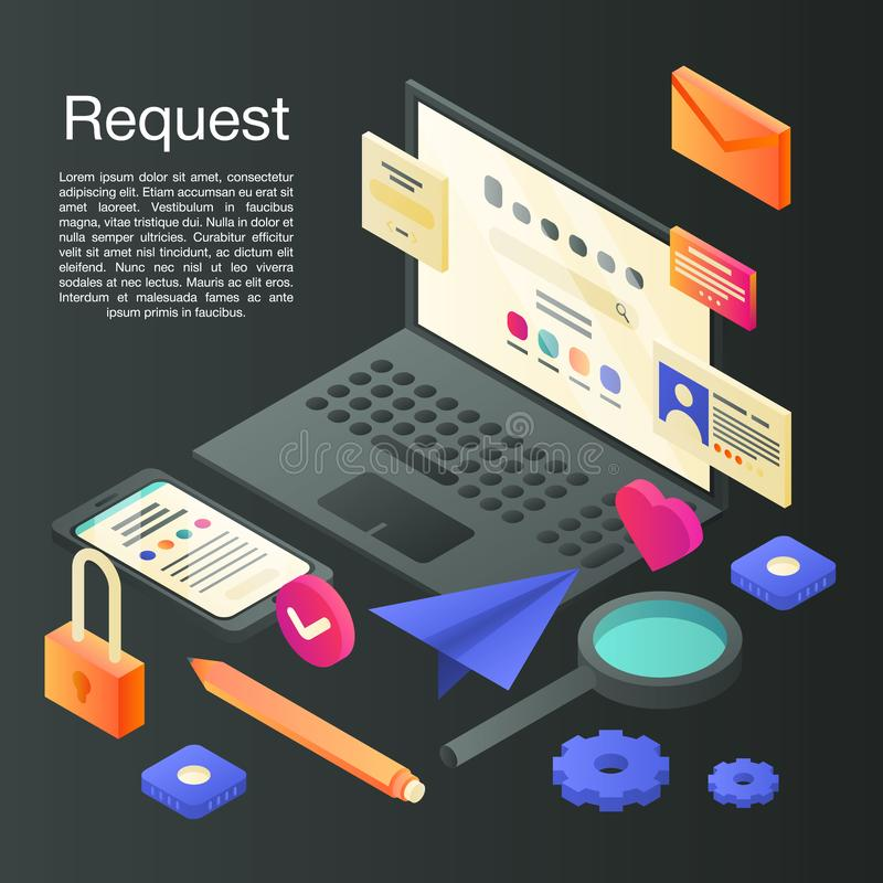 Request concept background, isometric style stock illustration