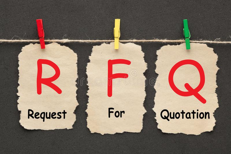Request For Quotation. RFQ written on set stickers with clip hanging on a rope on black background stock image