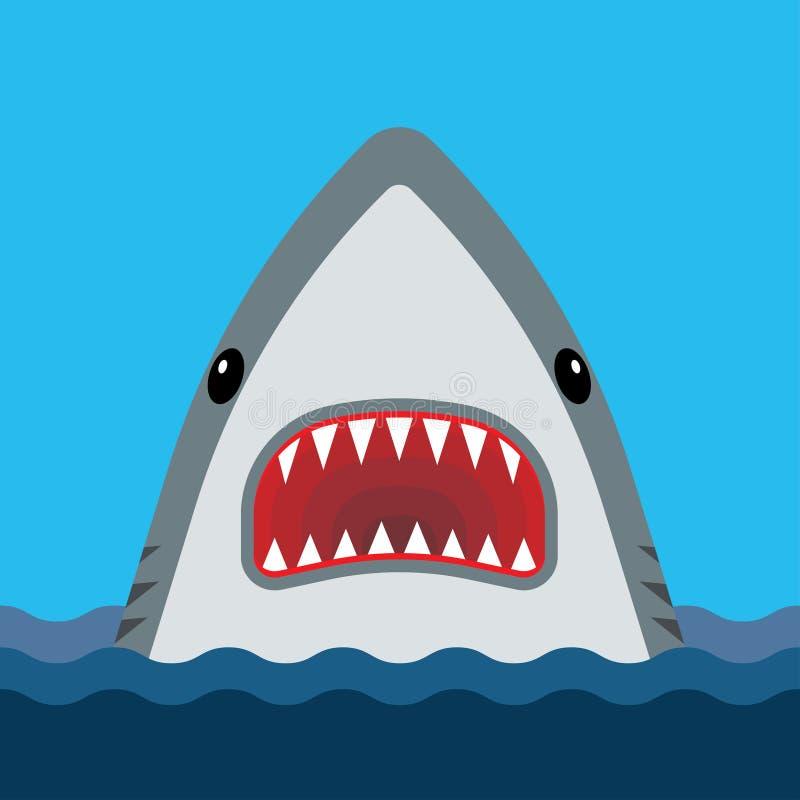 Requin avec la bouche ouverte et les dents pointues illustration libre de droits