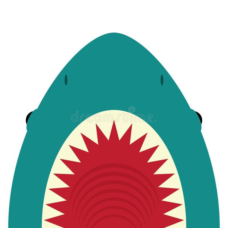 Requin avec la bouche ouverte et les dents pointues illustration de vecteur
