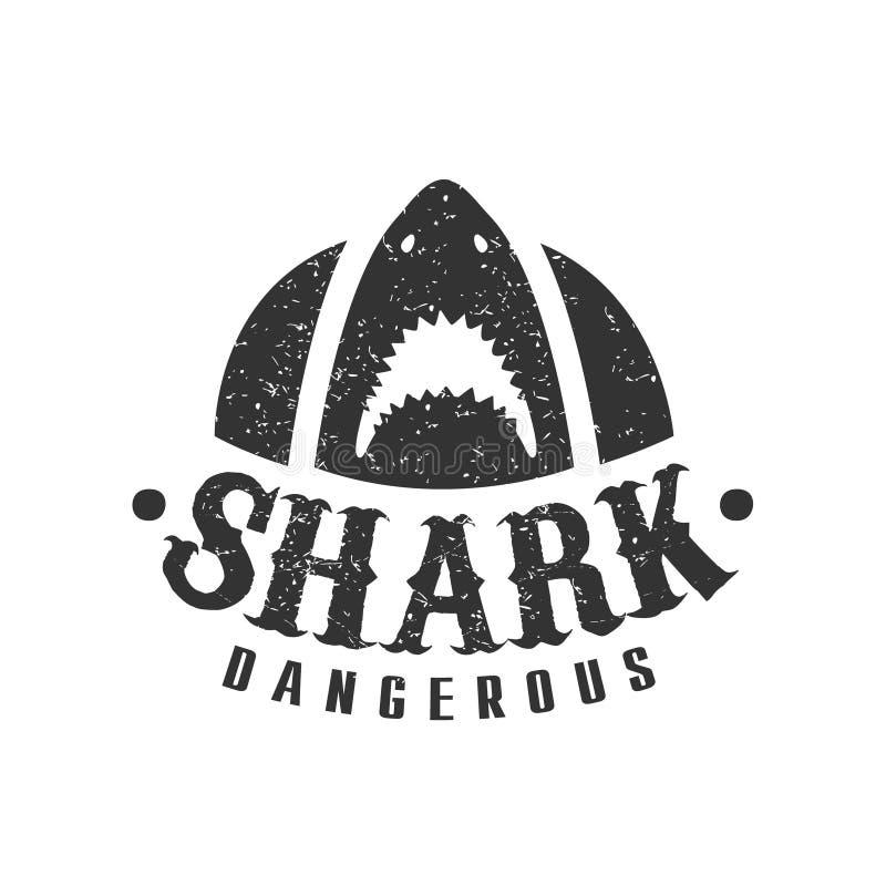 Requin avec la bouche ouverte et timbre noir et blanc de club de ressac d'été de dents pointues avec le calibre animal dangereux  illustration de vecteur