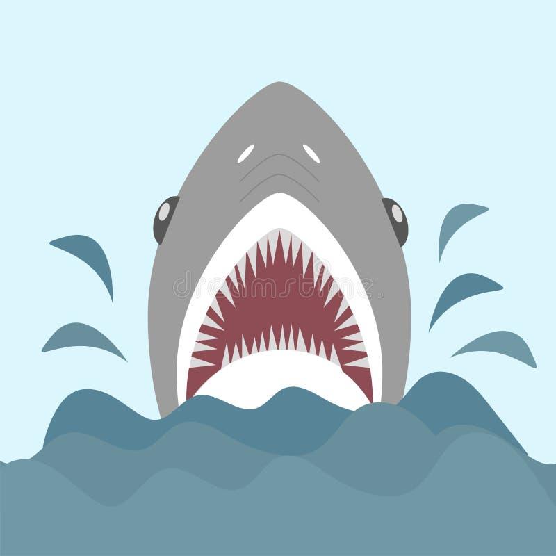 Requin avec les mâchoires ouvertes et les dents pointues Illustration de vecteur dans le style plat de bande dessinée illustration de vecteur
