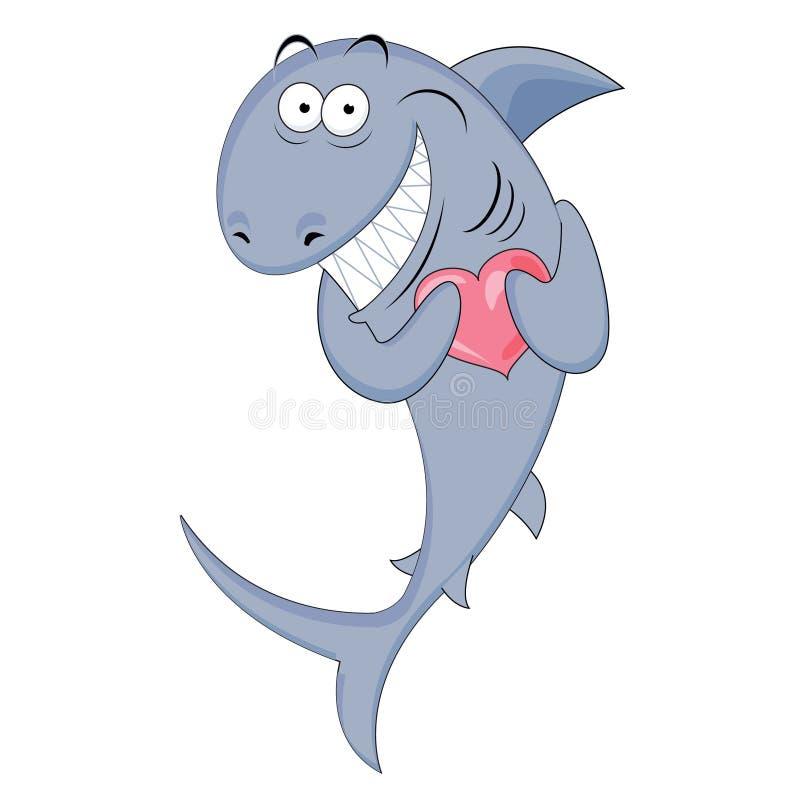Requin avec un coeur dans des ses mains illustration stock