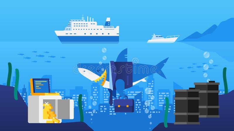 Requin d'affaires dans l'océan Ville dans l'océan Le coffre-fort avec de l'or Barrels o illustration libre de droits