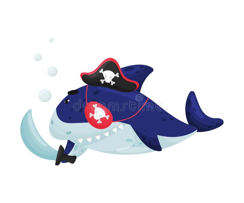 Requin de bande dessinée dans un costume de pirate Illustration de vecteur sur le fond blanc illustration stock