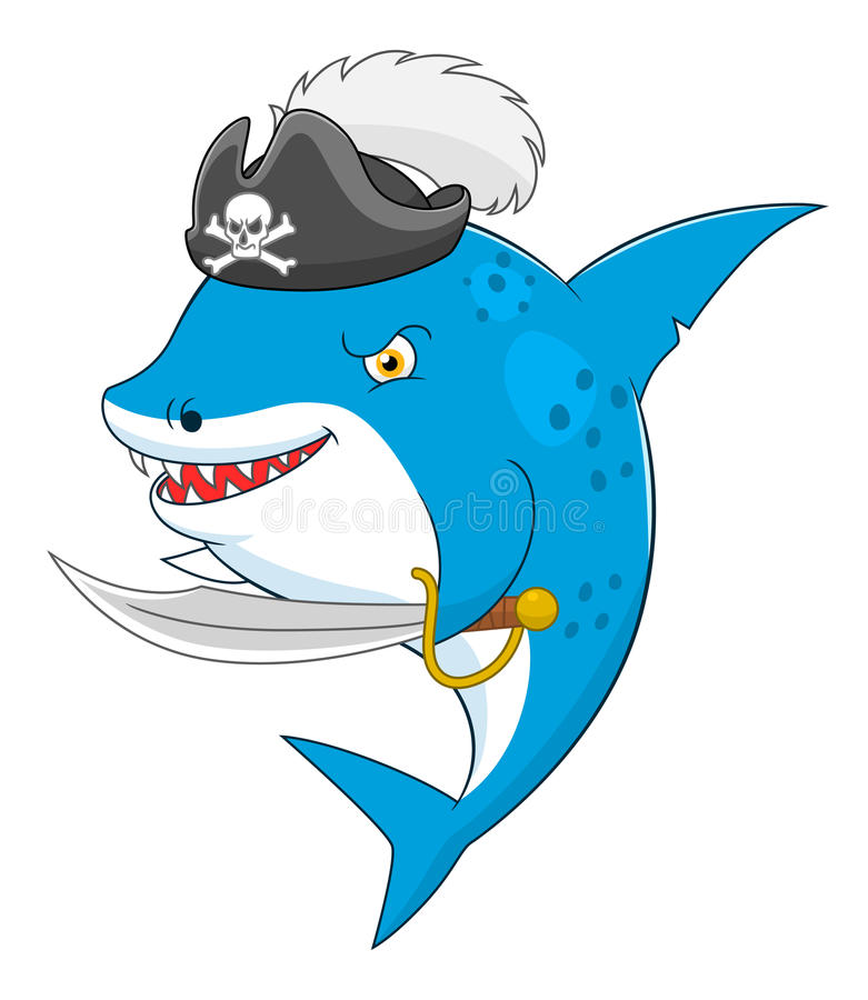 Requin de pirate de bande dessinée illustration de vecteur