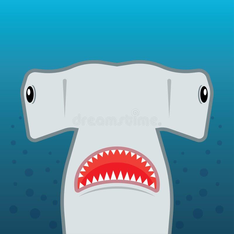 Requin de poisson-marteau avec la bouche ouverte illustration de vecteur