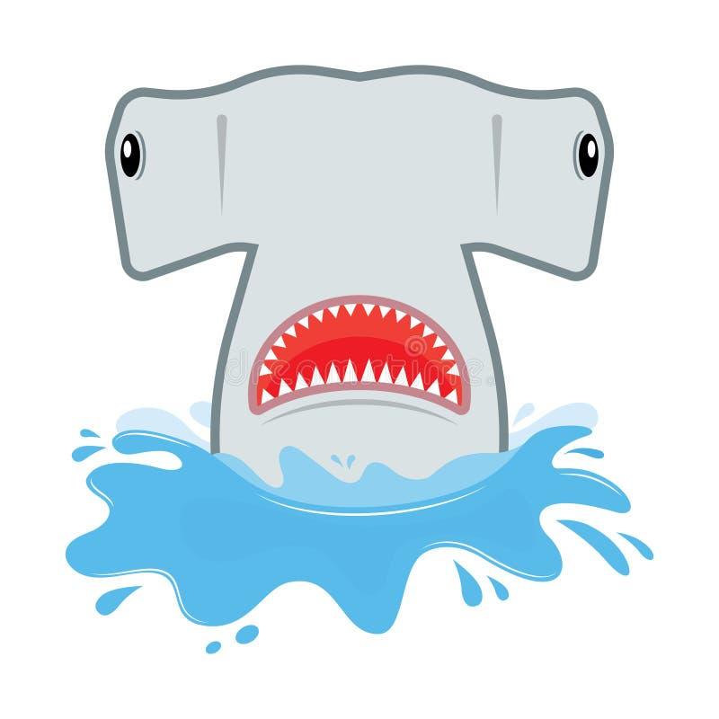Requin de poisson-marteau avec la bouche ouverte Il saute de l'eau illustration stock