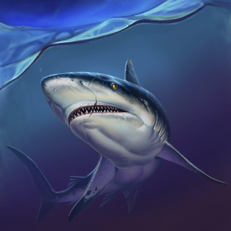 Requin de r?cif sur l'illustration r?aliste de fond de profondeur illustration de vecteur