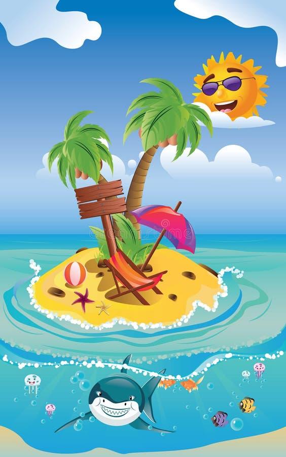 Requin et île de tropique illustration stock