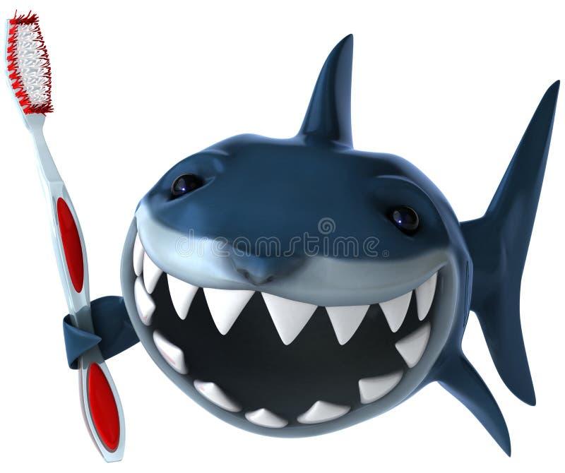Requin et brosse à dents illustration stock