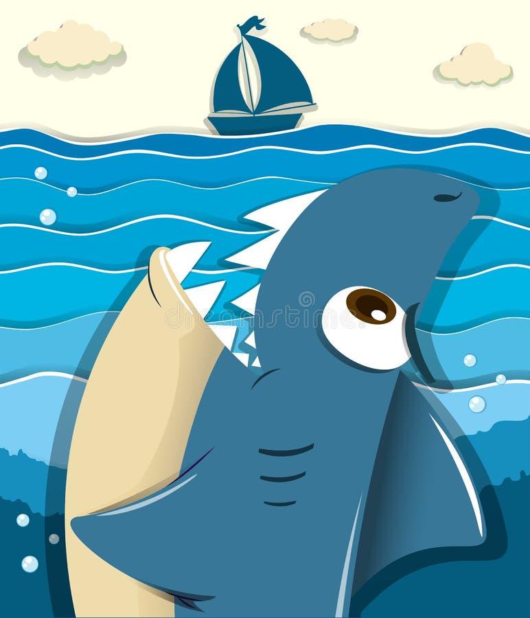 Requin fâché visant pour le voilier illustration de vecteur