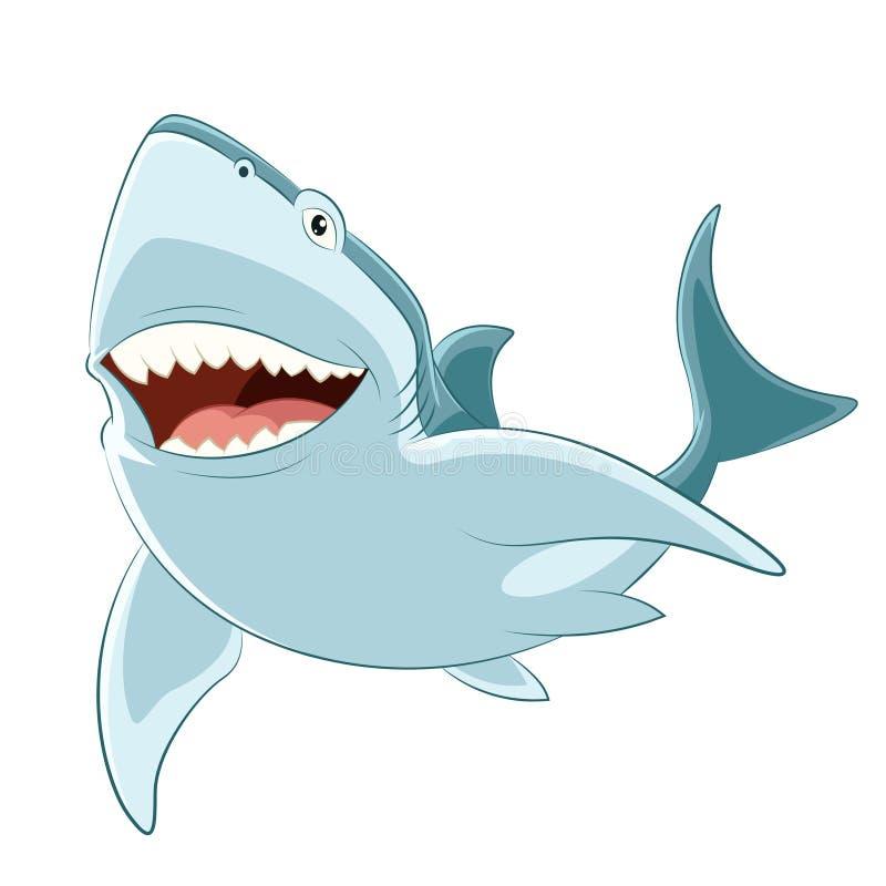 Requin heureux de bande dessinée illustration stock