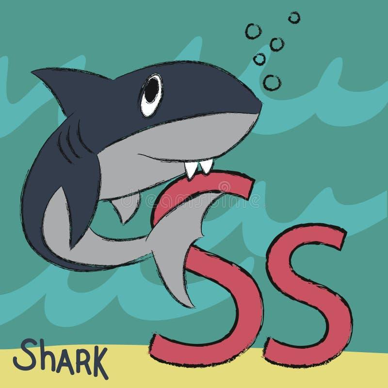 Requin mignon avec la lettre S illustration stock