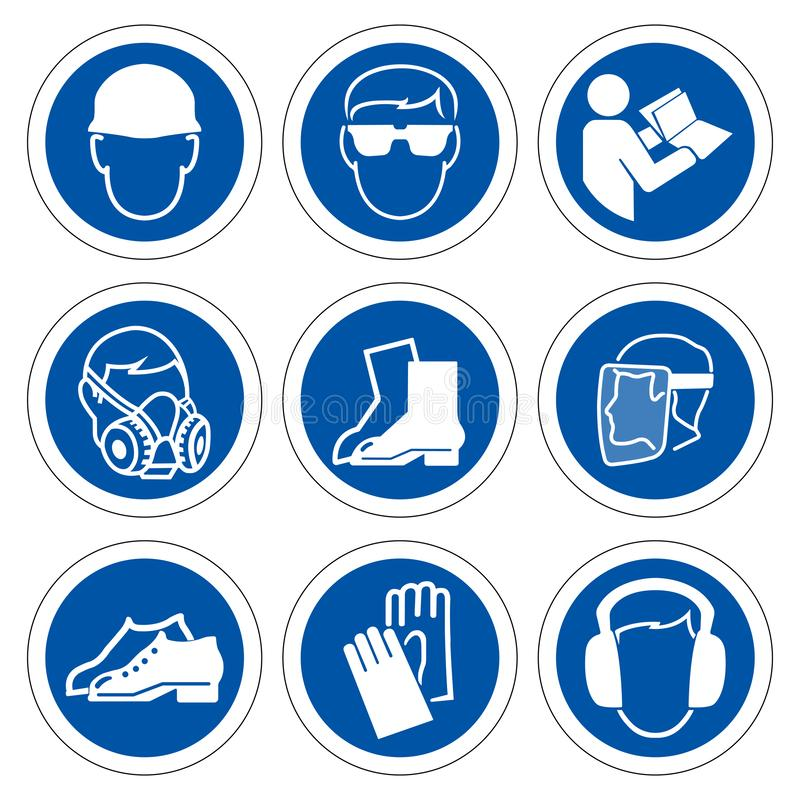 Required Personal Protective Equipment (PPE) Symbol,Safety Icon,Vector illustration royalty free illustration