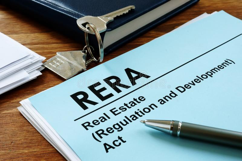 RERA lub ustawa o regulacji i rozwoju nieruchomości na miejscu obrazy stock