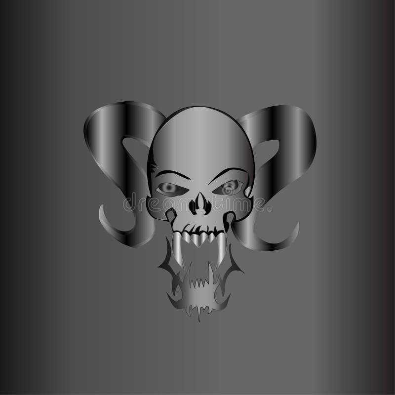 Resíduo metálico demoníaco da prata do crânio ilustração do vetor