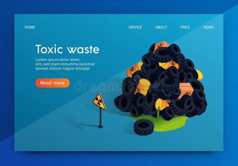 Resíduos tóxicos lisos da fábrica do problema da bandeira do vetor ilustração do vetor