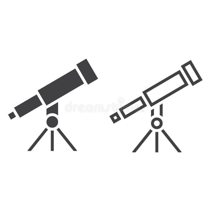 Resúmase la línea icono, muestra del vector del esquema y del sólido, linear y f stock de ilustración