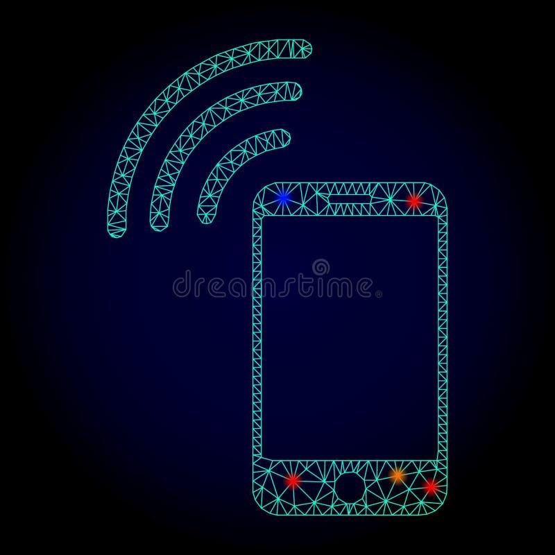 Res muerta Mesh Cellphone Signal del vector con los puntos ligeros por Año Nuevo ilustración del vector