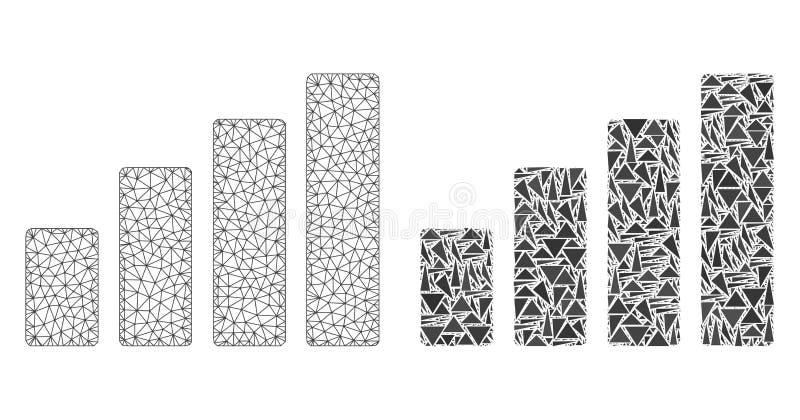 Res muerta poligonal Mesh Bar Chart e icono del mosaico stock de ilustración