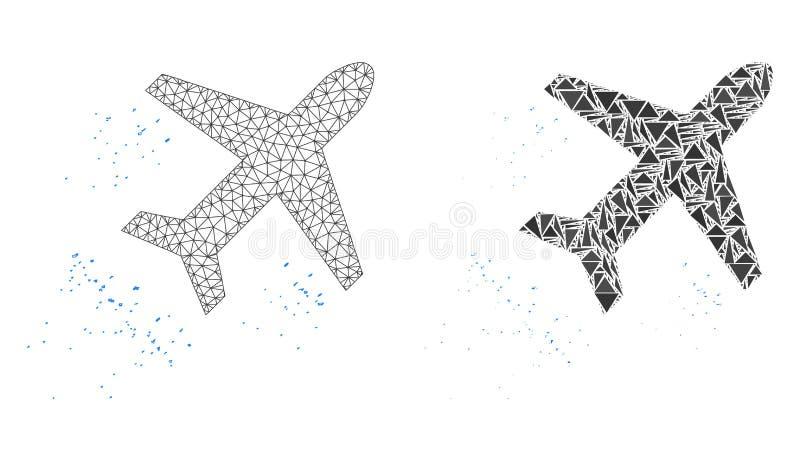 Res muerta poligonal Mesh Flying Air Liner e icono del mosaico libre illustration