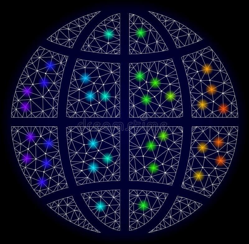 Res muerta poligonal Mesh Map del globo del planeta con los puntos ligeros brillantes stock de ilustración