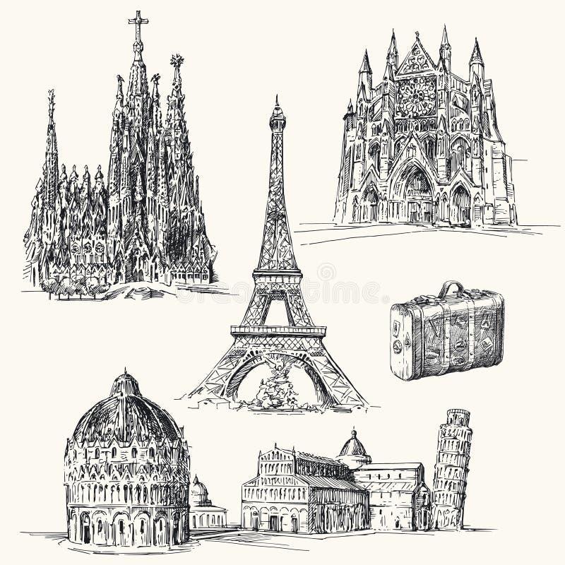 Resa över Europa stock illustrationer