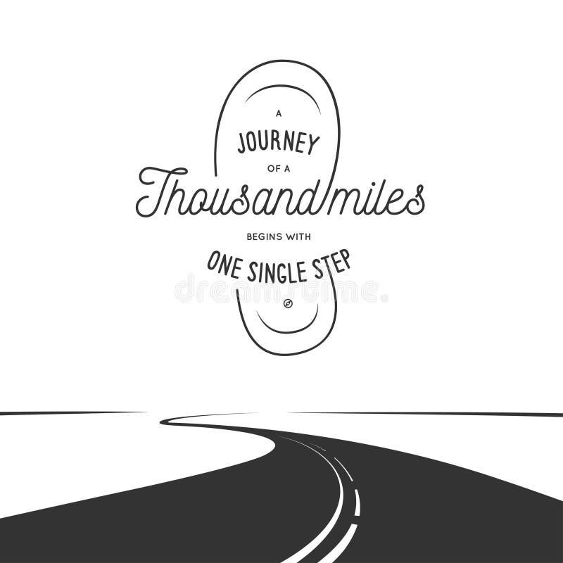 Resa av tusen mil den typografiska affischen Tappningvektorillustration stock illustrationer