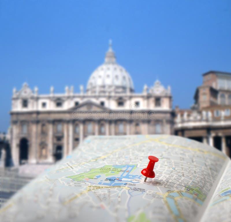 Resa destinationen Rome kartlägger push klämmer fast blur arkivbilder