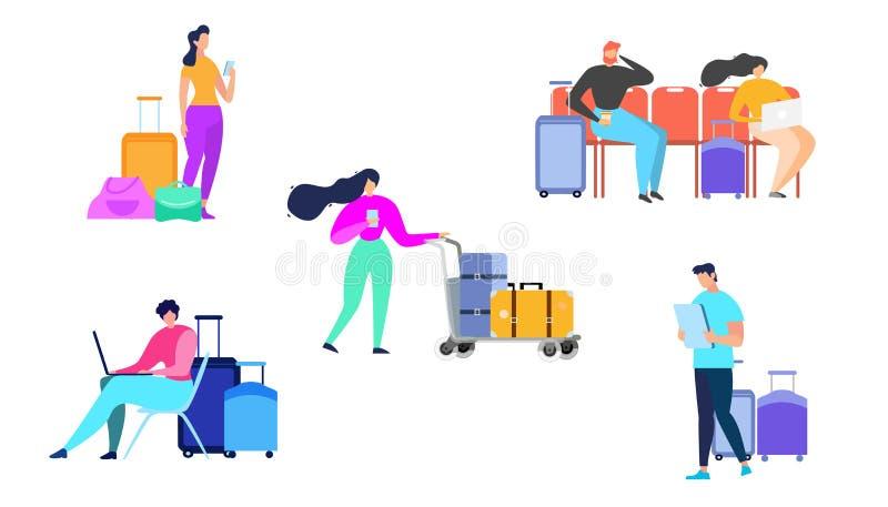 Resa folk med den plana vektoruppsättningen för bagage stock illustrationer