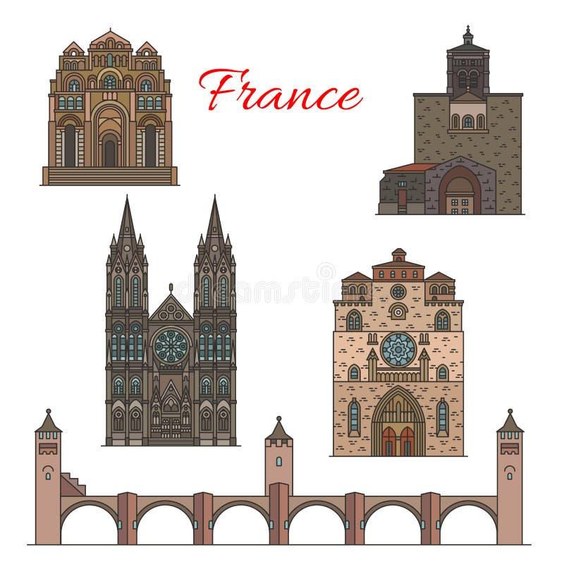 Resa gränsmärken av Frankrike, berömda turistsikt royaltyfri illustrationer