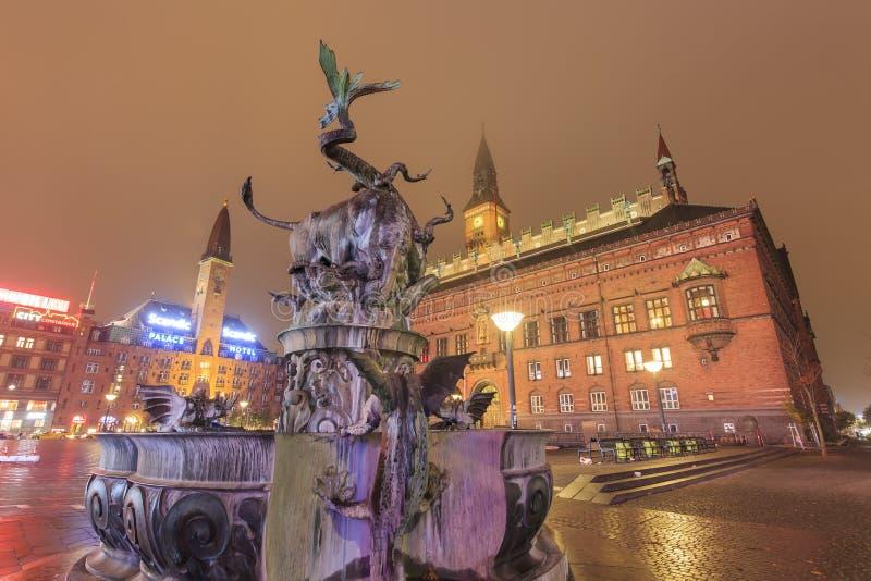 Resa i det berömda Köpenhamnstadshuset fotografering för bildbyråer