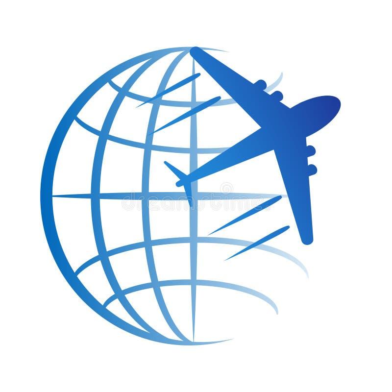 Resa logosymbolen med jordklotet och nivån, materielvektorillustration royaltyfri illustrationer