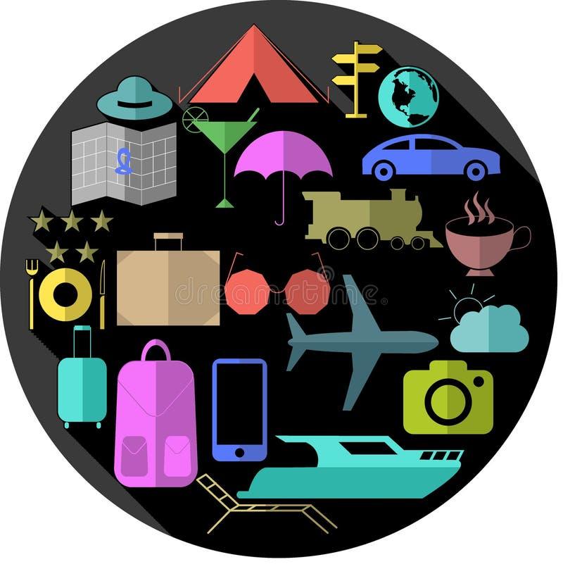 Resa mångfärgade uppsättningsymboler i grå färgcirkel med lång skugga stock illustrationer