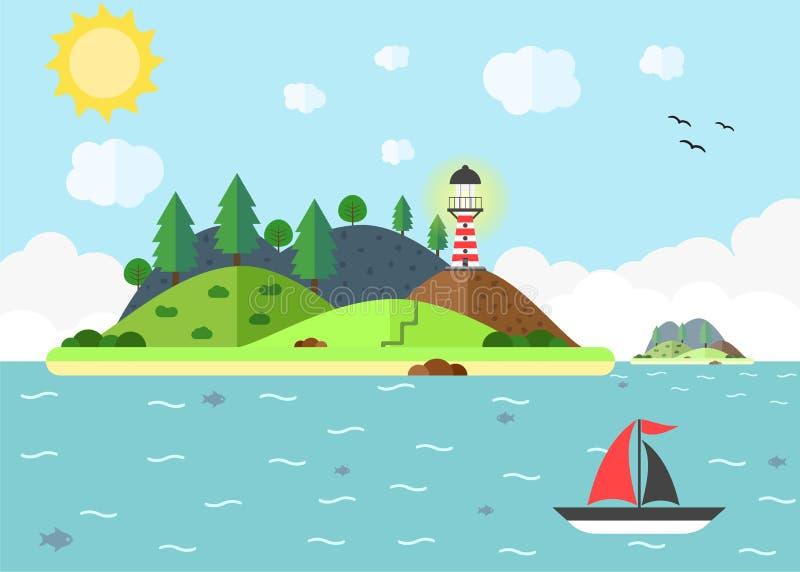 Resa platsen i havet med fyren, kullen, träd och segla bo stock illustrationer