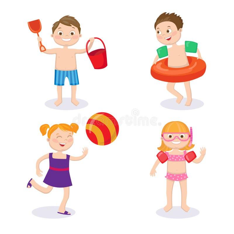 Resa resväskan med seascapeinsida Lyckliga ungar som bär baddräkter som har gyckel vektor illustrationer