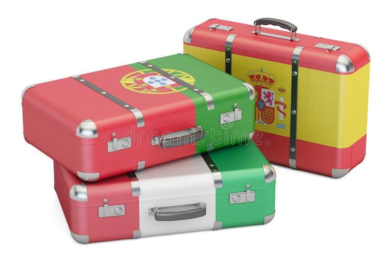 Resa runt om det Europa begreppet, resväskor med flaggor av Spanien, Por stock illustrationer
