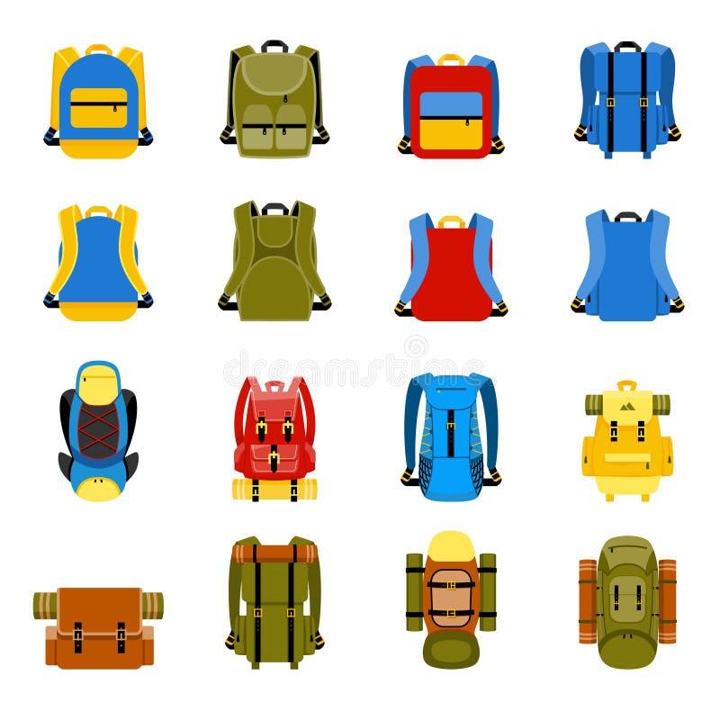 Resa ryggsäcken, den campa ryggsäcken och skolapåsen royaltyfri illustrationer
