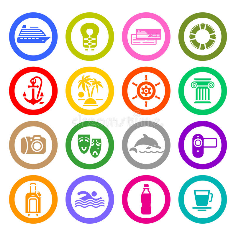 Resa, semestern & rekreation, fastställda symboler stock illustrationer
