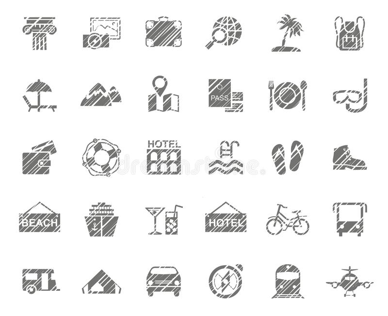 Resa, semestra, turism, semestern, symboler, blyertspennaskuggning, monokrom, vektor royaltyfri illustrationer