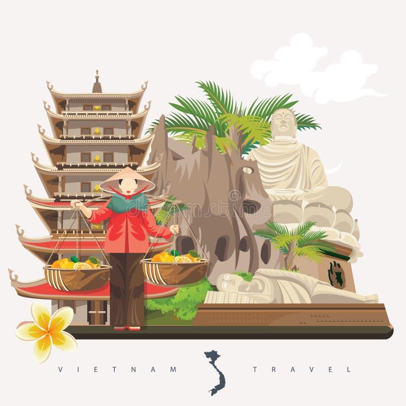 Resa till det Vietnam kortet med pagod- och vietnameskvinnan stock illustrationer