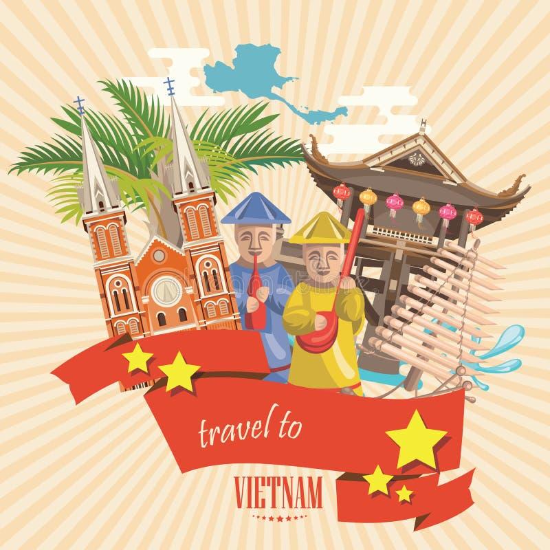 Resa till det Vietnam kortet med pagoden, tempel och gulna stjärnor stock illustrationer