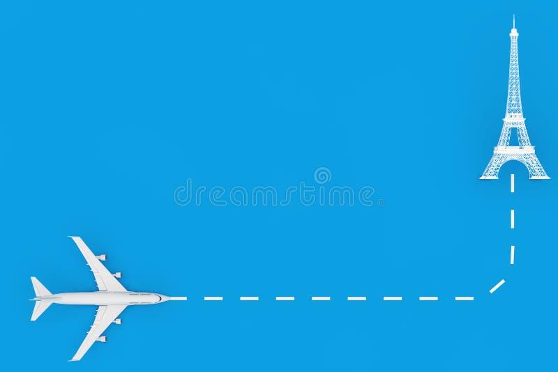 Resa till Frankrike White Jet Passenger's Airplane Fly to Eiffel Tower Building 3d Rendering royaltyfri illustrationer